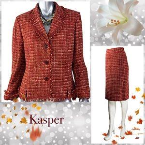 Kasper Orange Skirt Set Size 12